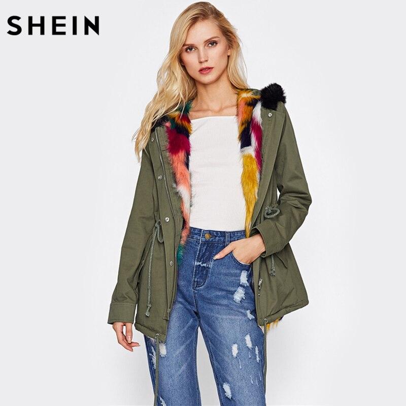 SHEIN Faux Fur Trim Drawstring Waist Coat Casual Autumn Winter Coat Women Green Long Sleeve Zipper Hooded Parka Coat