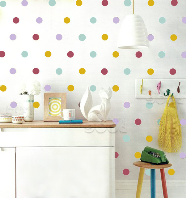 Mix Color polka Dots Wall Sticker wall decal, Removable home ...