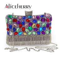 Luxury Women Party Bags Handmade Diamond Crystal Tassels Lady Evening Bag Clutch Bag Colorful Clutches Wedding Purse