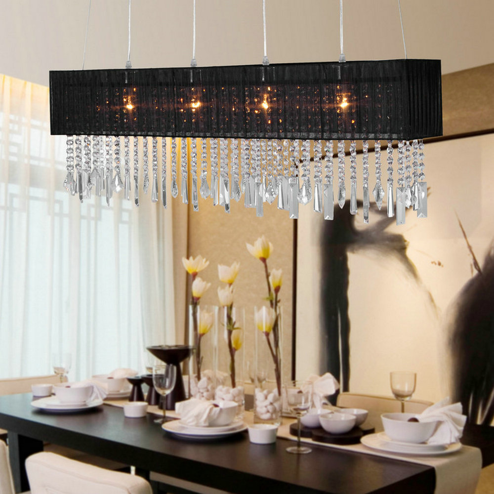 MAMEI Free Shipping Hight Qulaity Rectangle Modern Crystal Pendant Lamp In Dinner Room With Black Shade 110 240V For Home