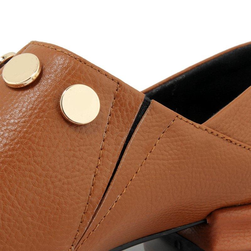 L06 Talon Marque D'été Pompes Solide Sur Concise Chaussures Cuir De brown Neutre Noir Main Pointu Vache Leiaure Rivet Bout Lenkisen Slip En Femmes Faible qTpwp1