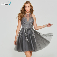 Dressv gray short mini homecoming dress scoop neck a line cheap backless sleeveless appliques homecoming&graduation dress