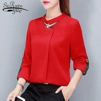 4a15840c9a1 Новая рубашка с длинным рукавом женская шифоновая блузка рубашка Модные  женские топы и блузки 2019 офисная блузка женская блузка 1316 40