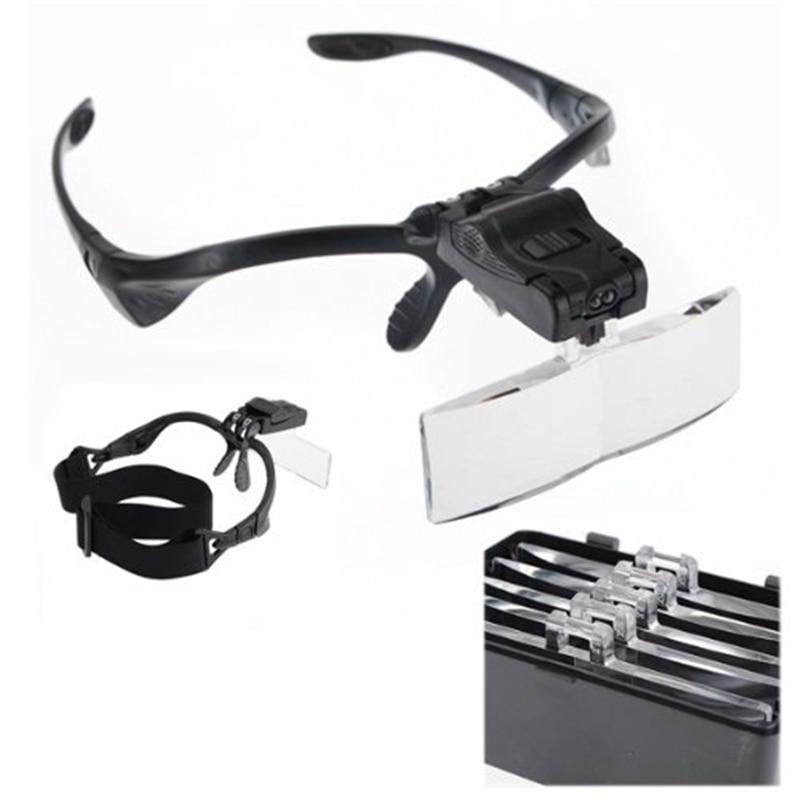 цена на Magnifier Glasses 2 Led 1/ 1.5/2/ 2.5/3.5 X Jeweler Watchmaker DIY Magnifying Glasses Double Eye Glass Loupe Lens Repair Tool