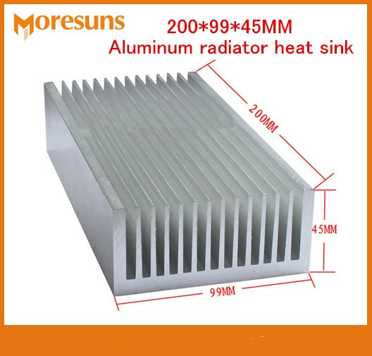 Free Ship High Power 200*99*45MM Heatsink Cooler Cooling Fin Aluminum Radiator Heat Sink for LED,Power IC Transistor,Module PCB 75 29 3 15 2mm pure copper radiator copper cooling fins copper fin can be diy longer heat sink radiactor fin coliing fin