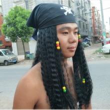 Unisex Pirates of the Caribbean Jack Sparrow Cosplay Peluca Headwear Halloween Pirate Costu