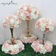 35/40/50 sztuczne stół w kształcie kwiatu centralny wieniec wesele tło dekoracyjne ołowiu drogowego kula z kwiatów różana hortensja Gypsophila