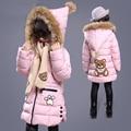 new Fashion Girls Winter Coat cartoon bear children down-cotton outerwear medium-long thick medium-large jackets