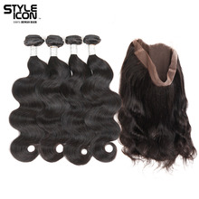 hot deal buy styleicon brazilian body wave human hair weave 2 3 4 bundles with lace frontal closure 360 lace frontal with bundles non remy