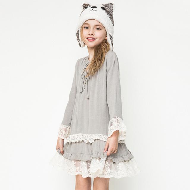 2016 Nova Outono Inverno Meninas Rendas Babados Manga Vestido de Algodão Crianças Princesa Costura Traje Adolescente Roupas Sólida