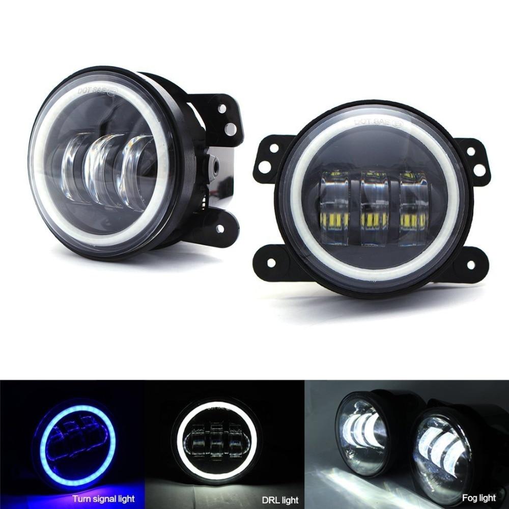 4/'/' INCH LED Fog Light DRL White Halo Ring For Jeep Wrangler JK Unlimited 07-18