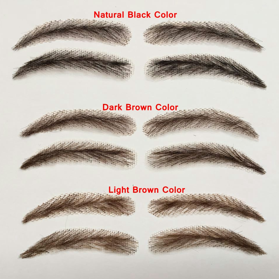 A pair of Hand Made Human Hair Eyebrow Fake Eyebrow 013 Light Brown Color Handmade Swiss Lace Invisible Reality Eyebrow 15 pcs professional makeup brushes set power foundation eyeshadow blush blending make up beauty cosmetic tools kits hot