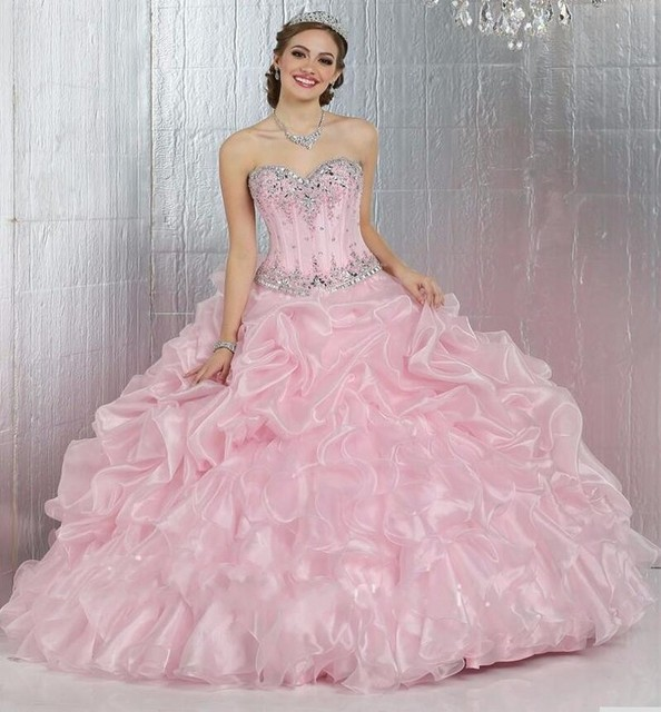 b4ded82924fe Sparkle Light Pink Quinceanera Dresses 2016 Sweetheart Neckline Off The  Shoulder Ball Gowns For 15 Years Sweet 16 Princess