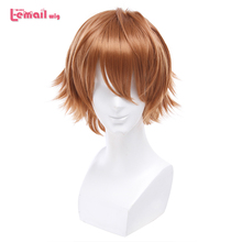L-email wig Brand New Men Ouma Shu Cosplay Wigs 30cm/11.81inches Brown Heat Resistant Short Synthetic Hair Perucas Cosplay Wig l email wig new fgo game character cosplay wigs 10 color heat resistant synthetic hair perucas men women cosplay wig
