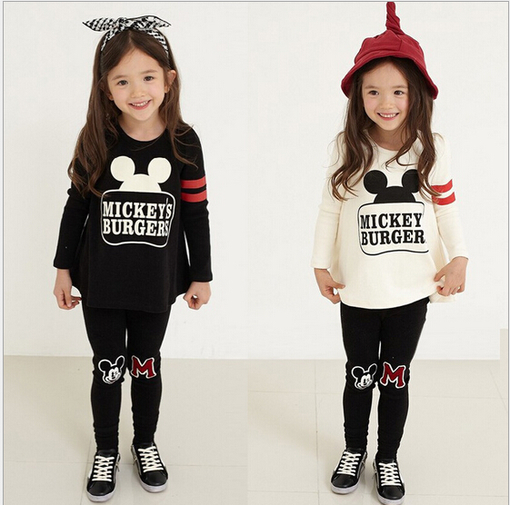 2018 Baby Clothes For Little Girl CLothing Sets Girls Minnie Clothing Long Sleeve T Shirt + Pants 2PCS Kids Clothes Girls 2-7Y