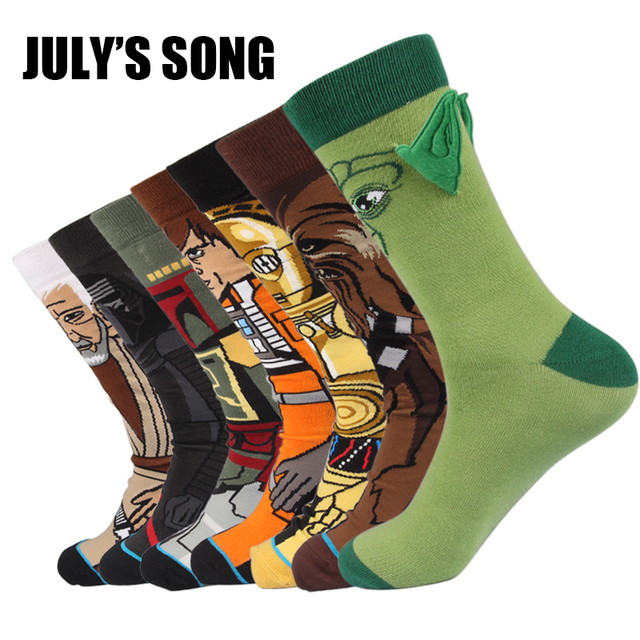 7 Pairs a Lot Happy Socks Men Funny Novelty Socks Cotton High Quality Brand Tmall Business Thermal Calcetines Start Wars