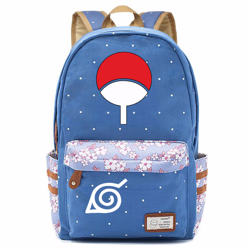 Uzumaki Naruto Sasuke Uchiha Sharingan Flower Dot Boy Girl School bag Women Bagpack Teenagers Schoolbags Canvas Femme Backpack 9 image