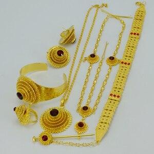 Image 5 - Anniyo האתיופית תכשיטי סטי שרשרת/לולאות שרשרת/מצח שרשרת/עגילים/צמיד/סיכת ראש/טבעת Habesha מתנה לחתונה #028706