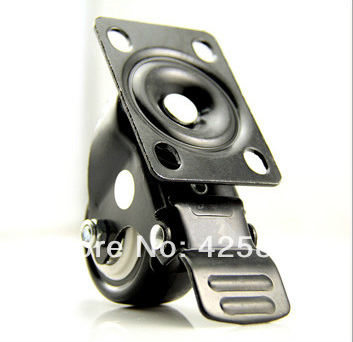 2pcs Black 50mm Rubber2 Inch Medium Duty Double Brake Universal Wheel Sofa  Casters Polyurethane PU