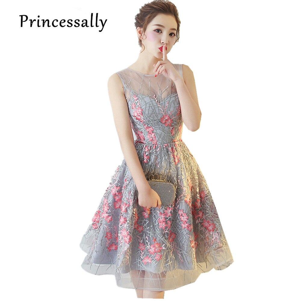 Elegant Grey Cocktail Dresses Knee Length SLeevelss Pink Embroidery ...