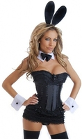 Bunny Corset Costume Corset, Ruffle Mini Skirt & Accessories (6 pc) S 6XL