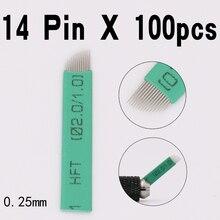 100 шт. 14 flex Agulha микроблейдинг tebori 14 Pin Лезвия Перманентный Макияж для ручного татуажа бровей Иглы для 3D Ручка для вышивки