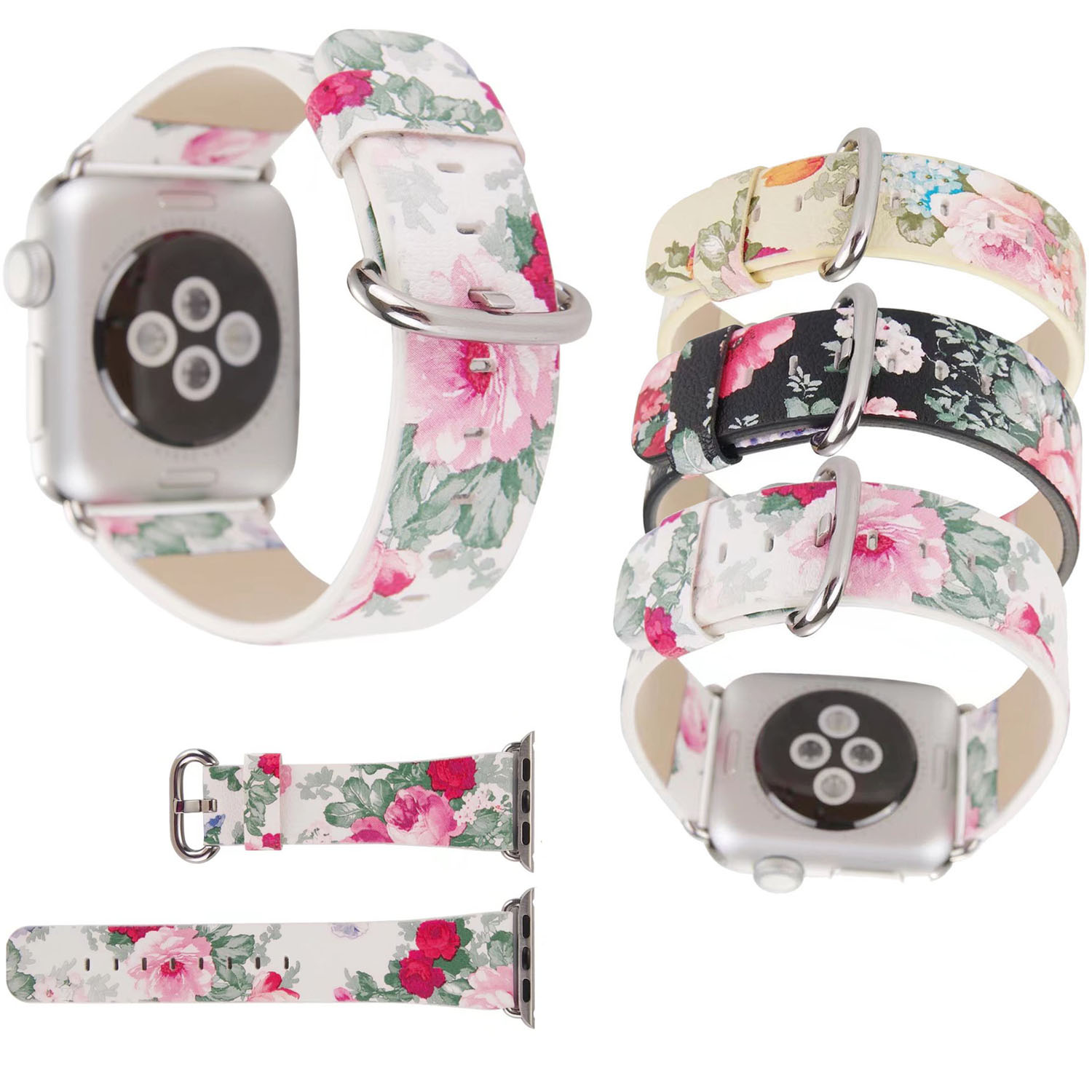 Flower Leather Strap for Apple Watch Series 3 Band Women Floral Print Bracelet for Apple iWatch Series 1/2 42mm 38mm Watchbands luxury ladies watch strap for apple watch series 1 2 3 wrist band hand made by crystal bracelet for apple watch series iwatch