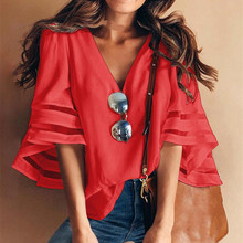 4 Colors  Summer Loose Pure Color V-Neck Shirts Women Flare Sleeve Mesh Patchwork Casual Blouse