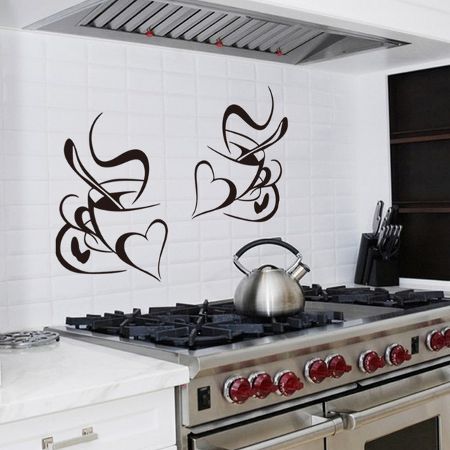 Retro Double love coffee cup wall sticker vinyl decals Restaurant Kitchen removable wall Stickers DIY home decor wall art mural 3