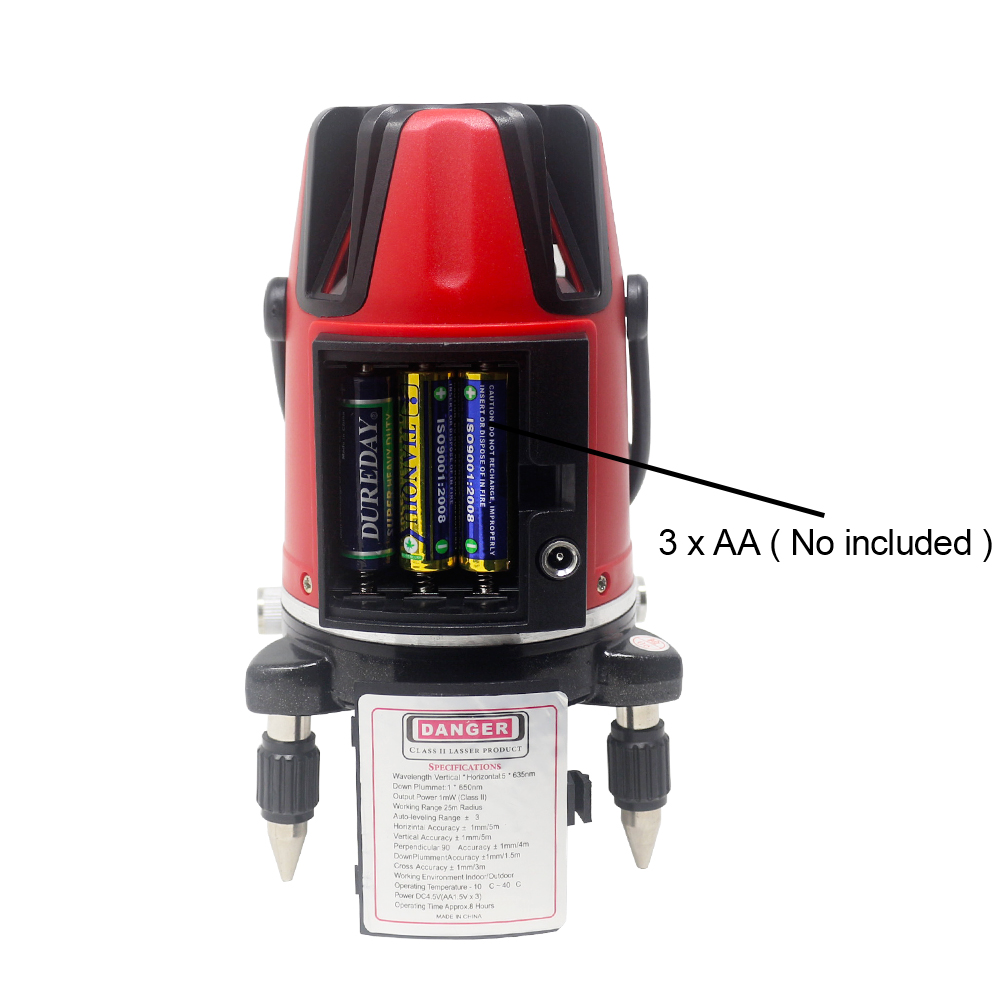 Tools : Ketotek Laser Level 5 Line 6 Points 360 Rotary Self Leveling 635nm Red Green Horizontal Vertical Cross line Lazer Level Outdoor