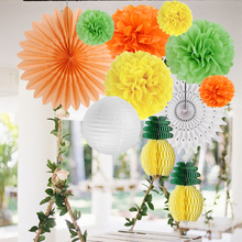 Summer Party Decoration Set Honeycomb Pineapple Centerpiece Tissue Pom Paper Fans Lantern Photo Booth Props Luau Tropical Decor