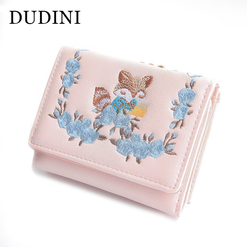DUDINI Creative Flower Lady Wallets Embroidery Cute Fox Design Coin Bag Short PU Leather Money Women Wallet 3 Folds Card Holder brand short leather men wallet new design casual money wallets coin pouch 2 folds card