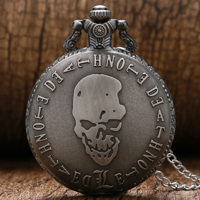 Retro Death Note Theme Pocket Watches with Necklace Chain Cool Skull Fob Watch Cosplay Gifts for Boys Children Kids retro skull death hold sickle pocket watch fashion mens womens fob chain bronze devil quartz fashion halloween funny watch gifts