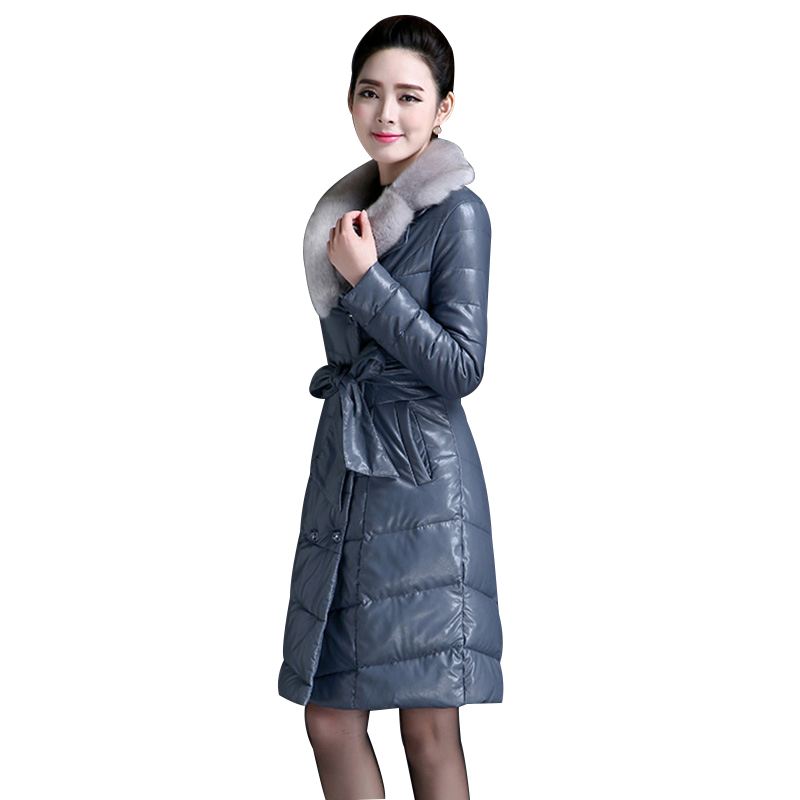 High Quality Women Faux Leather Coat Jacket Medium Length Woman Parka With Faux Fur Winter Thick Coat Women  2017 New Winter W93 bar iii new women s medium m white perforated faux leather pleated skirt $69