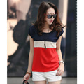 Summer new striped T-shirt summer short-sleeved T-shirt female Korean Women version of the influx wide stripe chiffon shirt 8.5