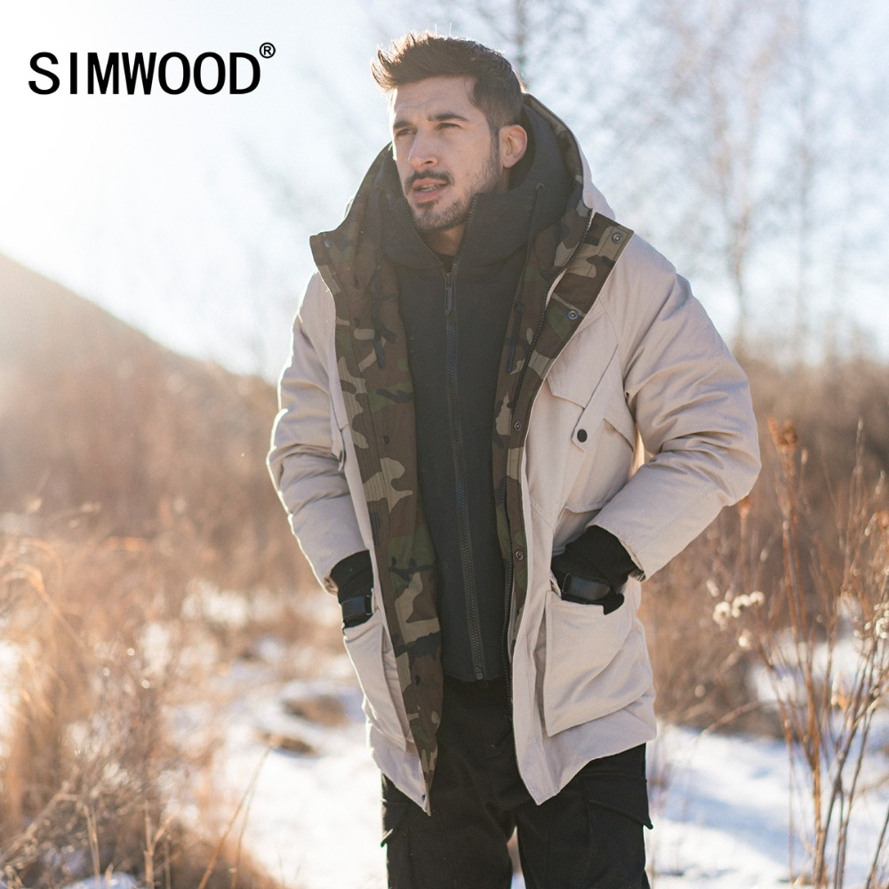 SIMWOOD Blanc Duvet de Canard Manteaux Hommes Hiver Chaud À Capuche Puffer Mode Contraste Couleur Camouflage Veste Plus La Taille Vêtements 180430