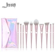 New Arrival Jessup brushes 10pcs Pink Makeup brushes set beauty Make up brush & 1PC Cosmetic bag women blush Powder Foundation