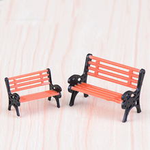 2PCS Cute Mini Chair Bench Home Decor Miniatures Fairy Garden Ornaments Figurines Toys Aquarium Dollhouse Accessories Decoration