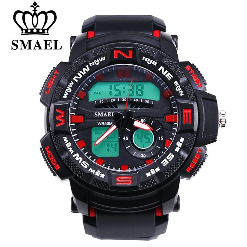2019 Neuer Stil Smael Männer Luxus Analog Quarz Dual Display Mann Armbanduhr Marke Mode Uhr Männer Neuen Stil Wasserdichte Sport Militäruhren