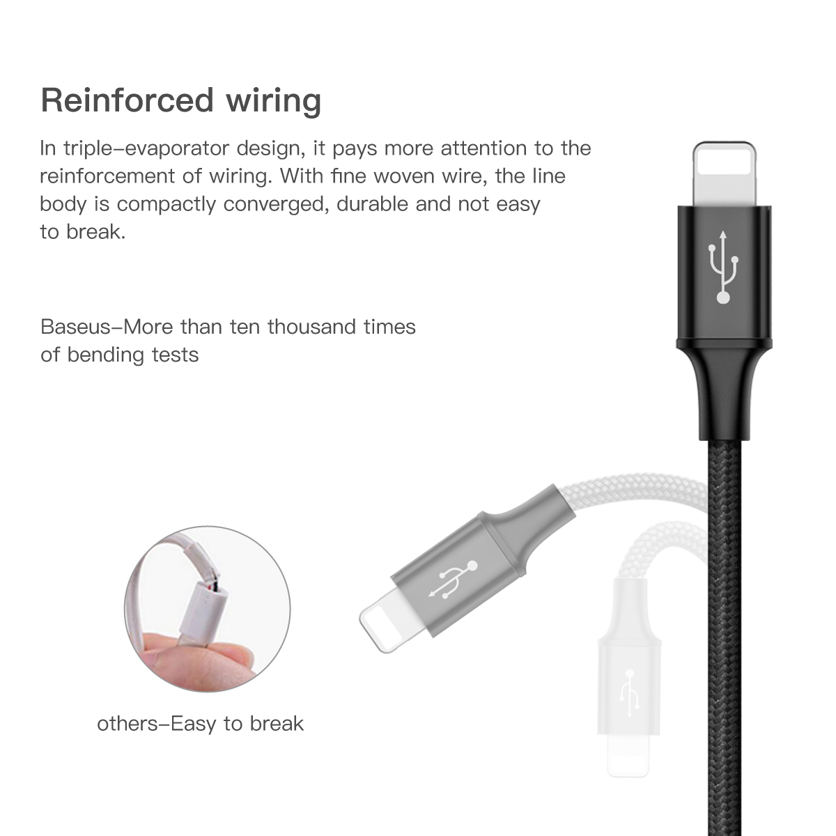 Image 2 - Baseus USB Type C to For iPhone USB Cable Fast Data Charger Type C Cable For iPhone 11 Pro Xs Max Xr X 8 7 Plus Macbook Air Pro-in Mobile Phone Cables from Cellphones & Telecommunications on