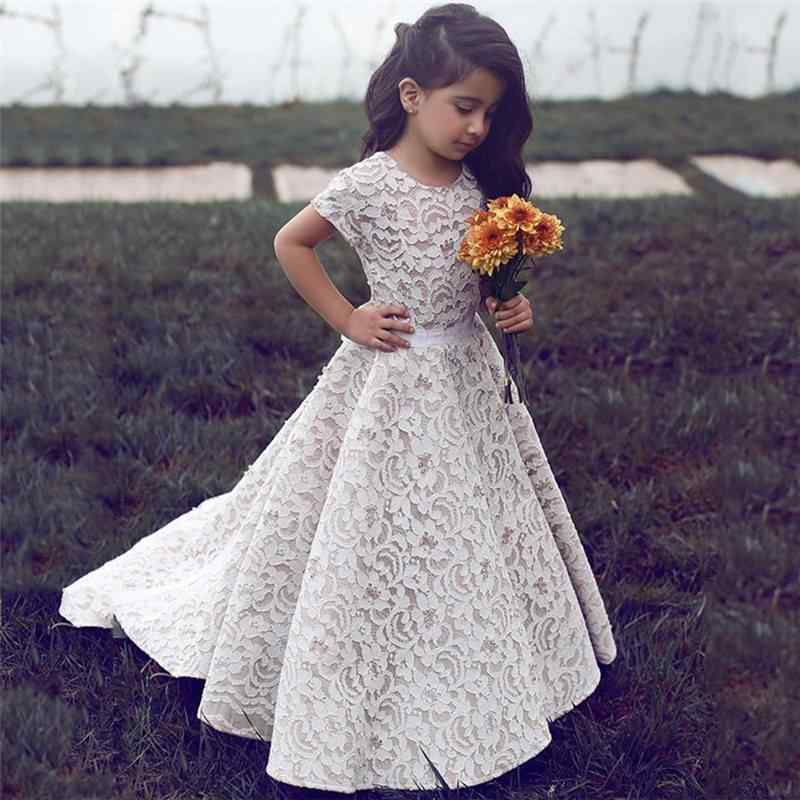 5484d446ccc Detail Feedback Questions about Lace 2019 Flower Girl Dresses For Weddings  A line Short Sleeves Floor Length Long First Communion Dresses For Little  Girls ...