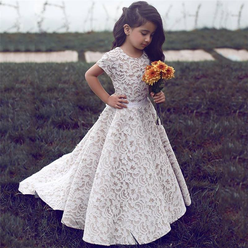 Lace 2019 Flower Girl Dresses For Weddings A-line Short Sleeves Floor Length Long First Communion Dresses For Little Girls