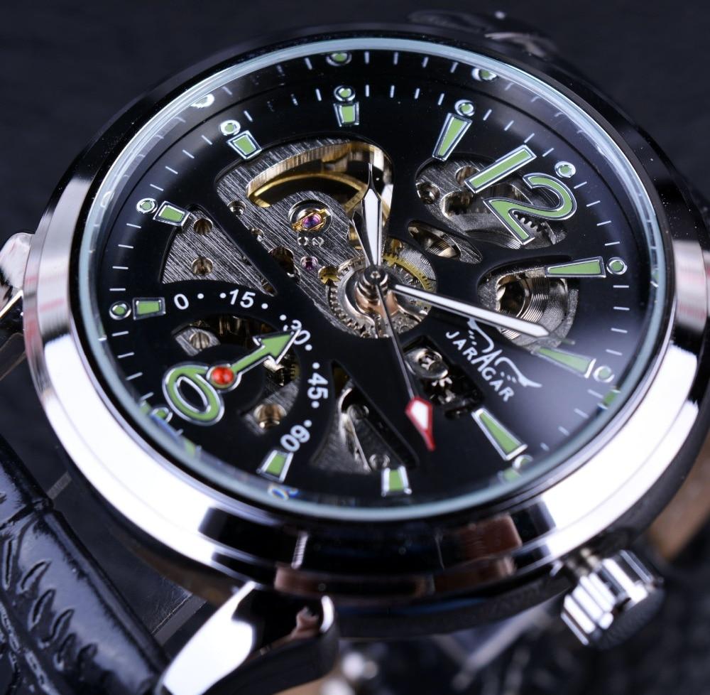 Jaragar 2016 Neue Serie Armee-grün Designer Sport Militäruhr Herrenuhren Top-marke Luxus Skeleton Automatische Casual Uhren