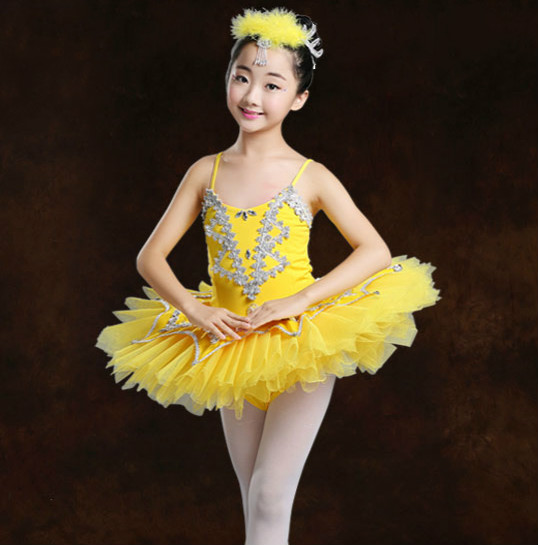 Child Sequins Ballet Dress Classical Ballet Tutu Leotard Girls White Swan Costume Ballerina Dress Kids Princess Party Dress
