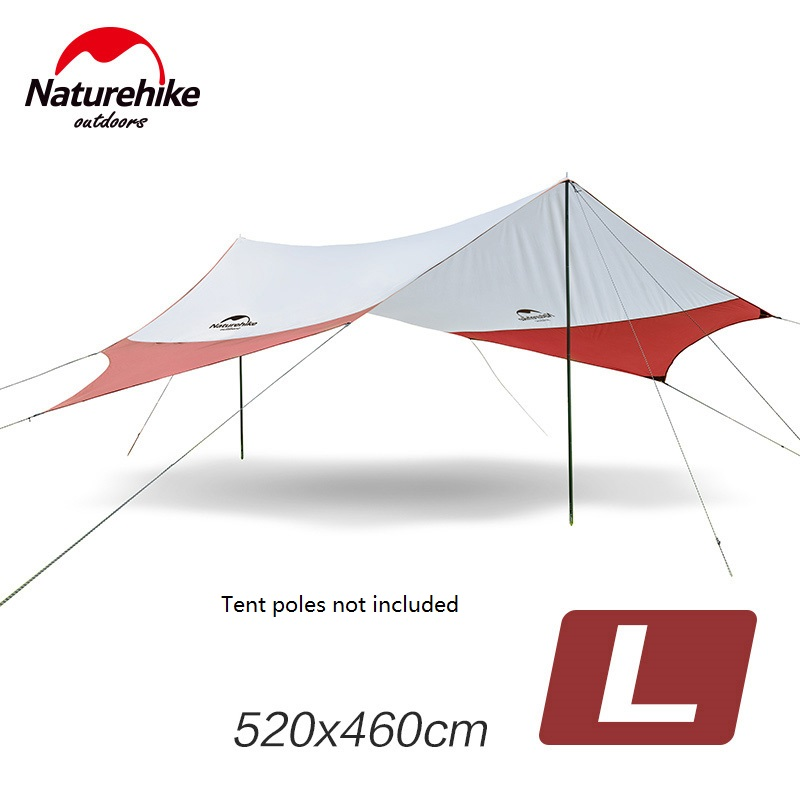 Naturehike Large Camping Tent Awning Outdoor Beach Awning 6 Persons Tent NH16T013-S without Tent Poles octagonal outdoor camping tent large space family tent 5 8 persons waterproof awning shelter beach party tent double door tents