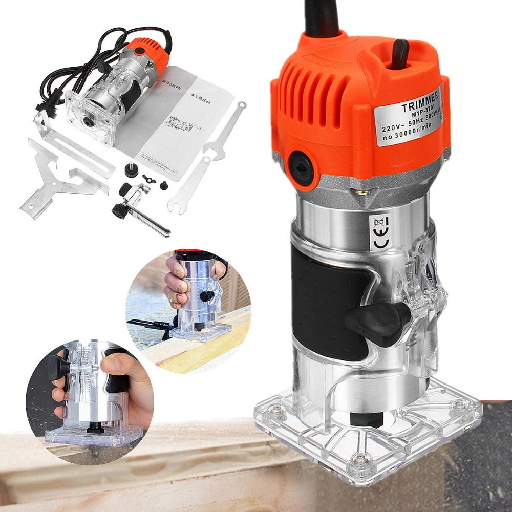 220V 800W Router Wood Trimmer Electric Hand Trimmer Motor Carving Machine Carpenter Woodworking Trimmer Power Tool