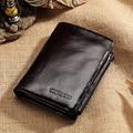 Men's Faux Leather Trifold Pocket Wallet Short Style Zipper Snaps Purse Gift