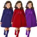 2016 La Moda de Invierno Abrigos Niños Niñas Abrigos de invierno largas mangas con arco chicas calientes ropa de Abrigo para niños chaquetas para 3-7 año