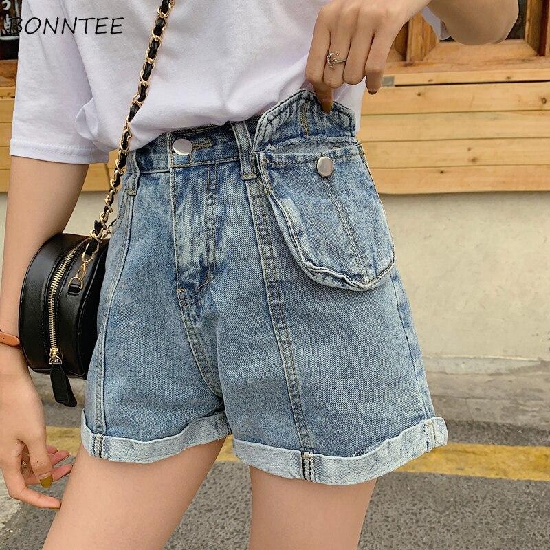 Shorts Women Students Denim Short Female Summer 2019 Retro Womens Pockets Zipper Loose High Quality Breathable All-match Ulzzang
