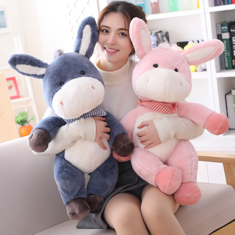 1pc 45/65/75cm Cute Long Ears Donkey With Gasbag Stuff Animal Soft Kawaii Plush Toy Doll Birthday Children & Gril Friend Gifts